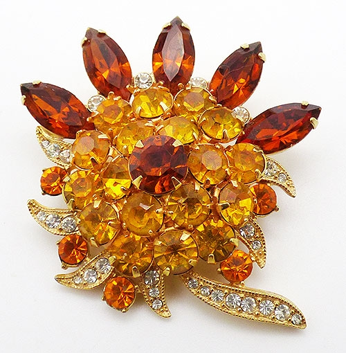 Newly Added Eisenberg Ice Topaz and Amber Brooch