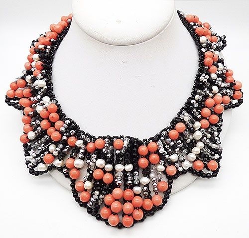 Newly Added Vilaiwan Coral Black and Pearl Necklace