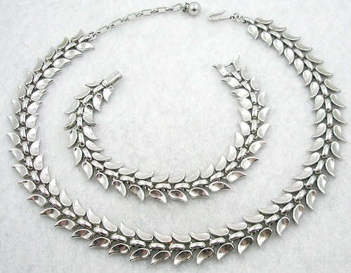 Newly Added Trifari Silver Petal Necklace & Bracelet Set