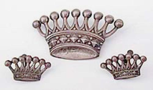 Newly Added Lang Sterling Crown Brooch Set