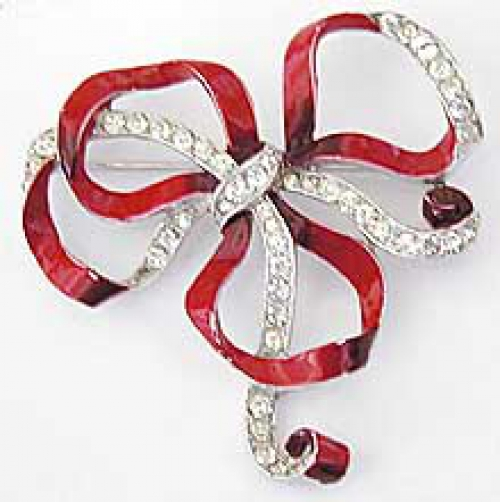 Newly Added Trifari Red Enameled Bow Knot Brooch