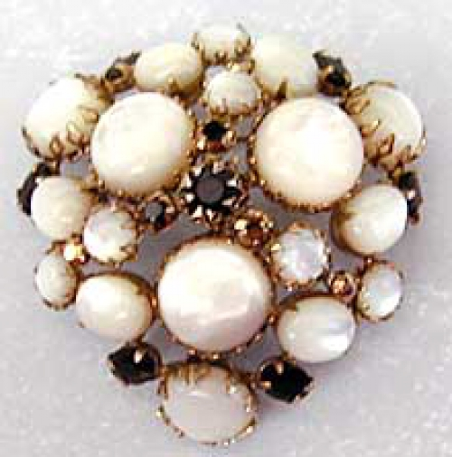 Newly Added Schreiner Domed Glass Moonstone Brooch