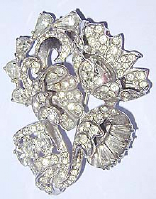 Newly Added Eisenberg Rhinestone Floral Fur Clip