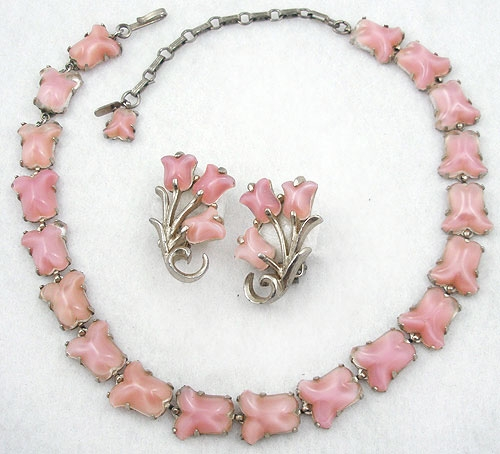 Newly Added Barclay Pink Glass Moonstone Necklace Set