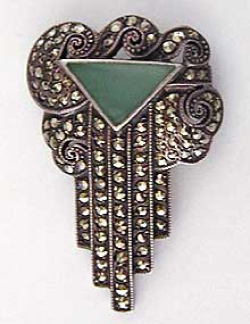 Newly Added Art Deco Plique a Jour Marcasite Brooch
