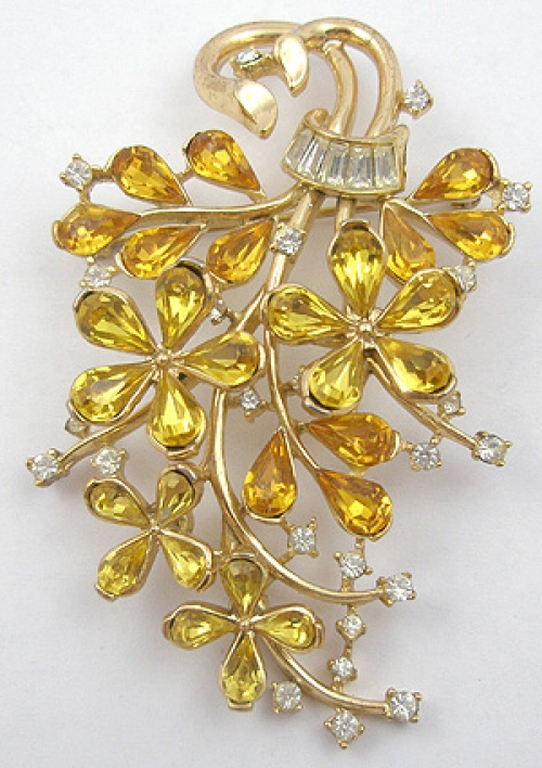 Newly Added Trifari Yellow Rhinestone Teardrop Flowers Brooch