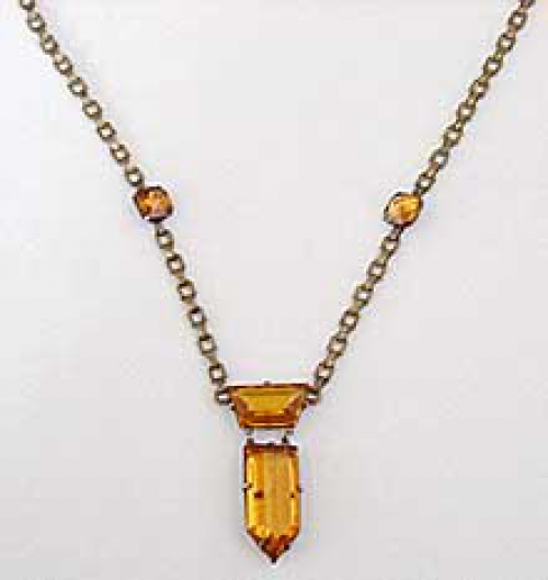 Newly Added Art Deco Topaz Glass Necklace