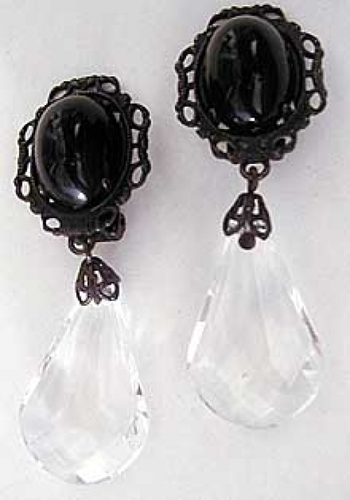 Newly Added Schreiner Black and Clear Drop Earrings