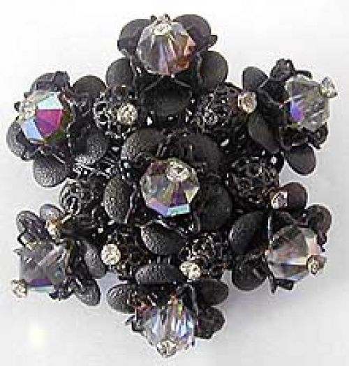 Newly Added Jonné Black Bead Brooch