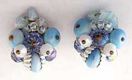 Newly Added Schiaparelli Aqua Bead Earrings