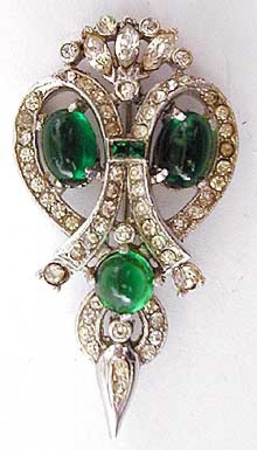 Newly Added Rhinestone Green Glass Cabochon Brooch