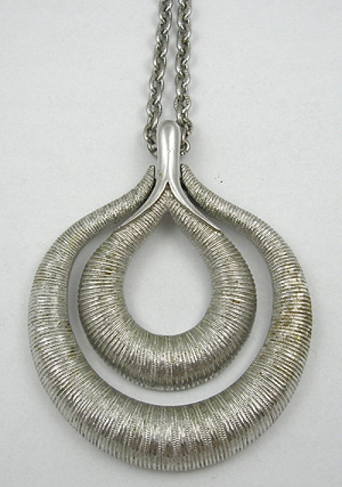 Newly Added Trifari Brushed Silver Abstract Pendant Necklace