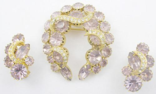 Newly Added Hobe' Lavender Rhinestone Brooch Set