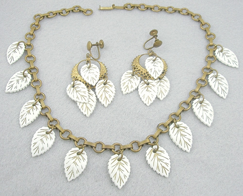 Newly Added Celluloid Leaves Necklace Set