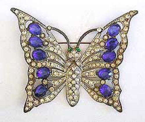 Newly Added Schrager Rhinestone Butterfly Brooch