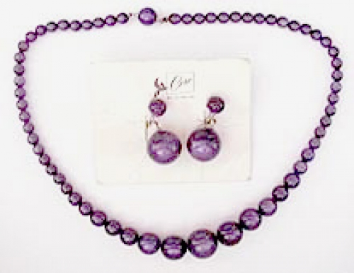 Newly Added Coro Purple Moonglow Bead Necklace Set