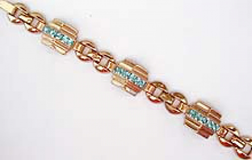 Newly Added Coro Art Deco Aqua Rhinestone Bracelet