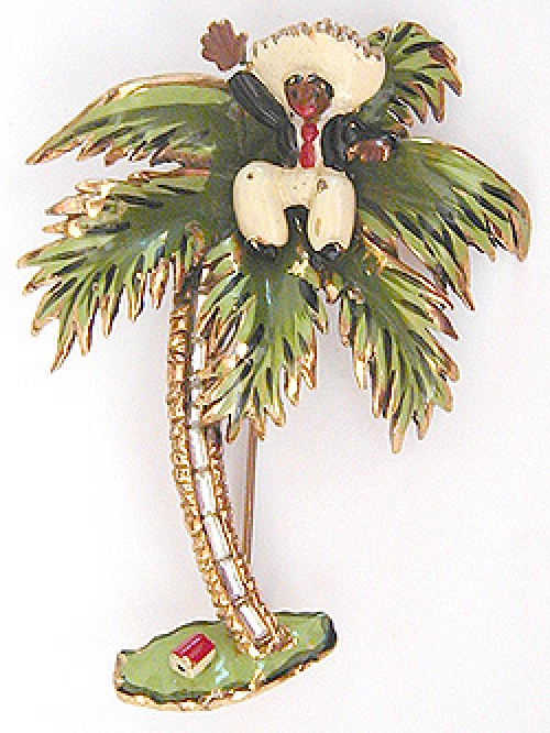 Newly Added Chanel Novelty Palm Tree with Monkey Brooch